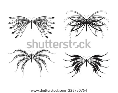 Set of black and white butterflies - stock vector