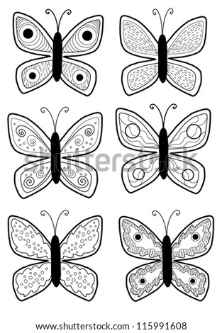 Set of Black and White Butterflies - vector illustration - stock vector
