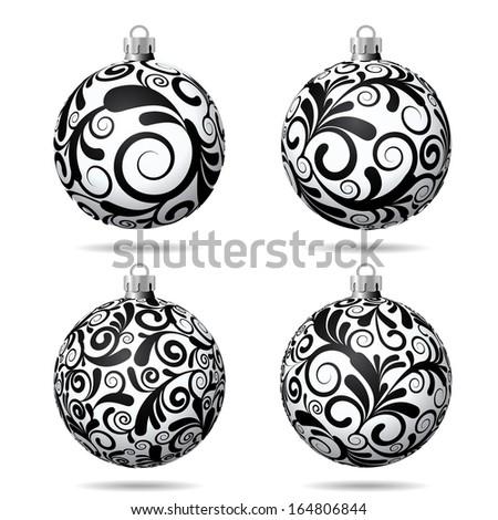 Set of Black and white Christmas balls on white background. Vector illustration. - stock vector