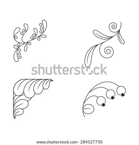 Set Of Black And White Corner Decorations