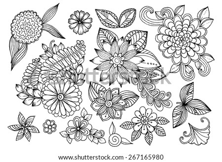 Set of black and white doodle flowers. Set of floral design elements. - stock vector