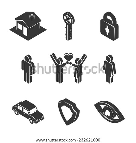 Set of Black and White Family and Property Icons in Three Dimensional Graphic Design on White Background. - stock vector