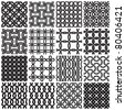Set of black and white geometric seamless patterns. Vector backgrounds collection. - stock photo