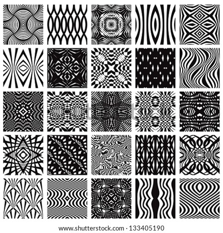 Set of 25 black and white geometric seamless patterns, vector backgrounds collection. - stock vector