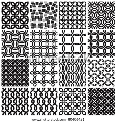 Set of black and white geometric seamless patterns. Vector backgrounds collection. - stock vector