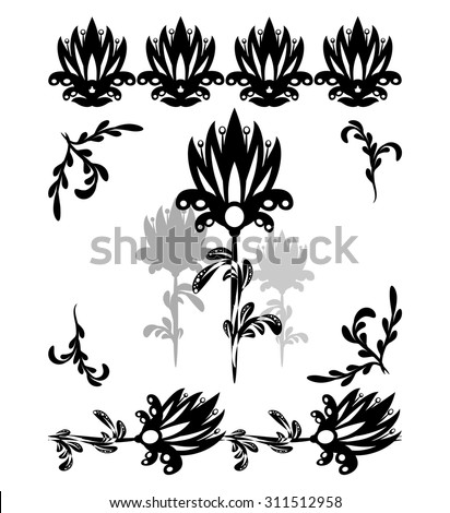 set of black and white graphic floral elements, borders
