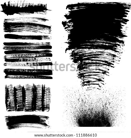Set of black and white hand drawn grunge paint stains - stock vector