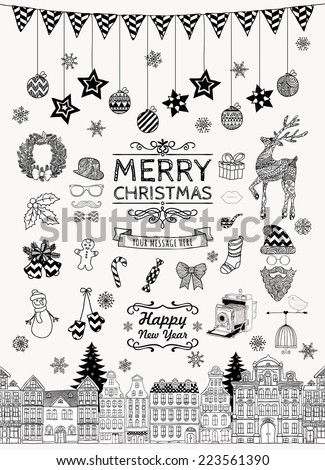 Set of Black and White Hand-drawn Outlined Christmas Doodle Icons. Xmas Vector Illustration. Text Lettering. Party Elements, Cartoons - stock vector