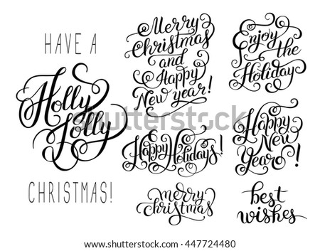 set of black and white hand lettering christmas phrase design collection, handmade calligraphy vector illustration