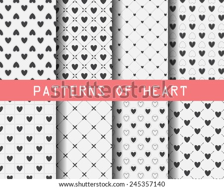 set of black and white Heart patterns, for valentines day, Pattern Swatches, vector, Endless texture can be used for wallpaper, pattern fills, web page,background,surface - stock vector