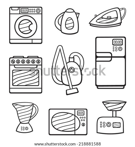 set of black-and-white home appliances (vector icons) - stock vector