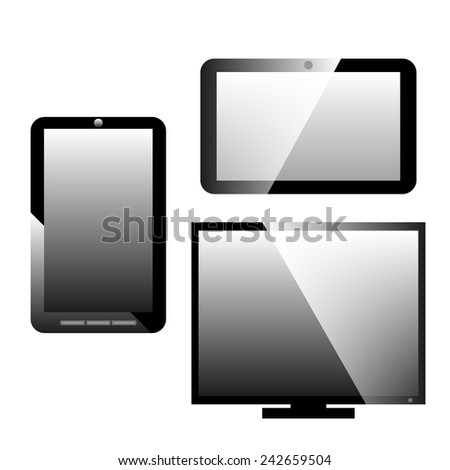 Set of black and white icons mobile phone, tablet computer, monitor, vector illustration
