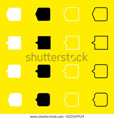 Set of black and white icons new message, write, add, get, notification, dialog, list, document, options, message. Only the black contour suitable for any background, any color. Modern set icons web. - stock vector