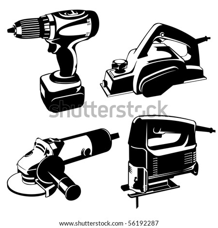 set of black and white images of the power. Vector stencil image. - stock vector