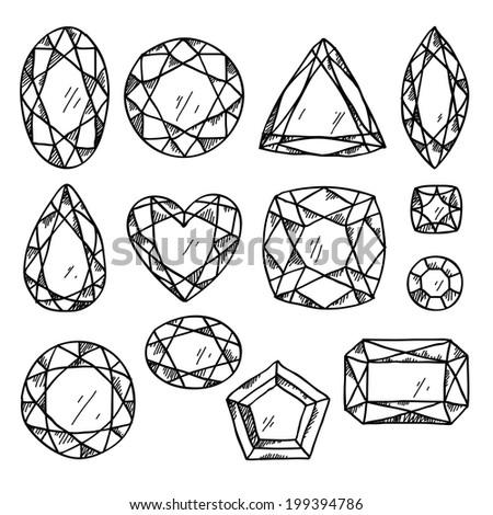 Set Black White Jewels Hand Drawn Stock Vector 199394786