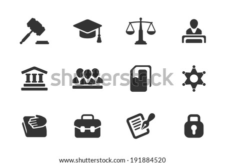 Set of black and white law and justice icons with a judge  gavel  lawyer  mortarboard hat  scales  court  jury  sheriffs star  law books  briefcase  scribe  and lock for a prison - stock vector