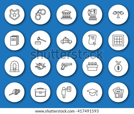 Set of black and white law and justice linear radial icons. The legal system, judge, police and lawyer. vector illustration.
