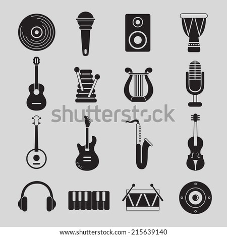 Set of black and white musical instruments - stock vector