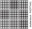 Set of black and white netting geometric seamless patterns. Vector backgrounds collection. - stock vector