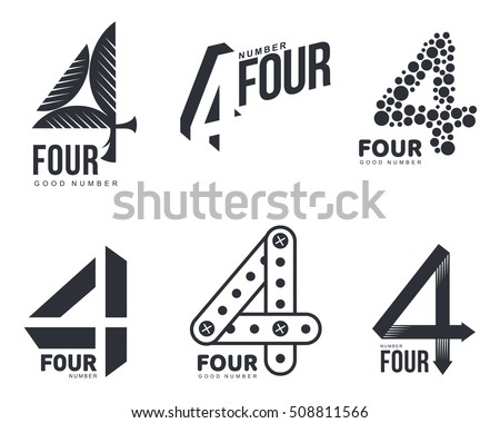 set black white number four logo stock vector 508811566 shutterstock. Black Bedroom Furniture Sets. Home Design Ideas
