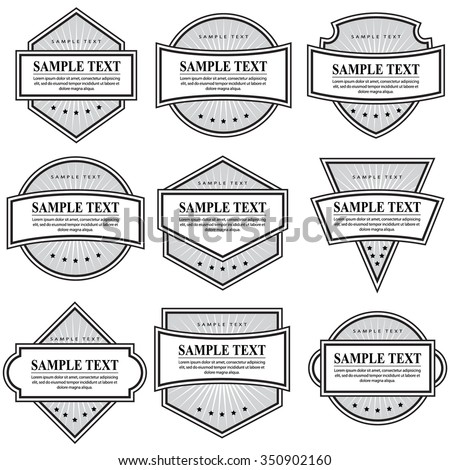 Set of black and white ornate labels on white background. Grouped for easy editing. Perfect for labels or stickers for wine, tea, coffee, soap, beer, powder, cologne and etc. - stock vector