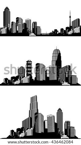 Set of black and white panorama cities. Vector art - stock vector