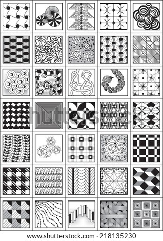 Set of black and white patterns and textures.Seamless pattern can be used for wallpaper, pattern fills, web page background,surface textures,zen-tangle art.