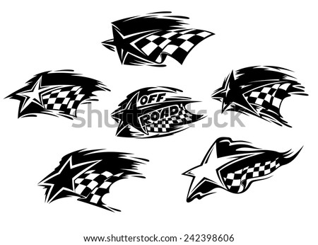 set black white racing motor sport stock vector 242398606 shutterstock. Black Bedroom Furniture Sets. Home Design Ideas