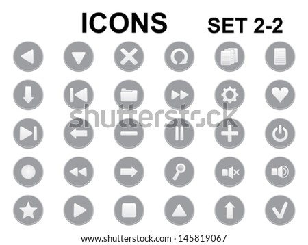 set of black and white round icons