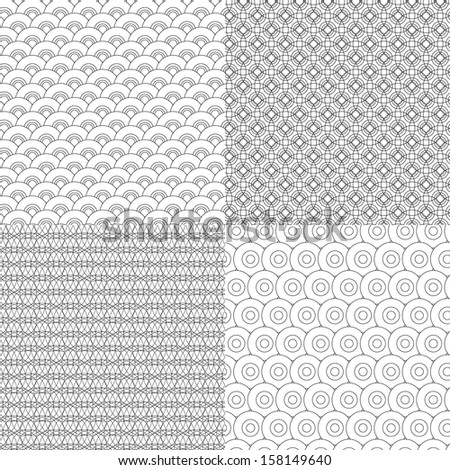 Set of 4 black and white seamless design pattern