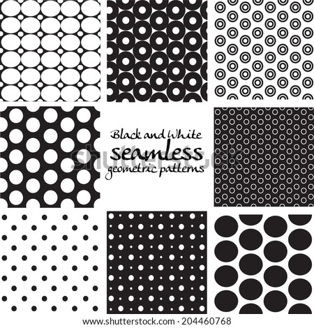 Set of black and white seamless geometric patterns from circles - stock vector