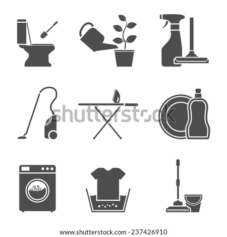 set of black and white silhouette icons on house work theme - stock vector