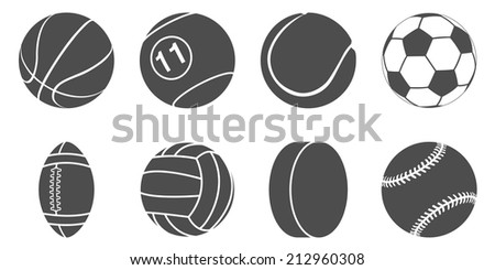 set of black and white silhouette sport items icons - stock vector