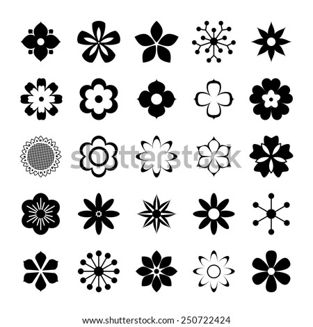 Set of black and white silhouettes of flowers - stock vector