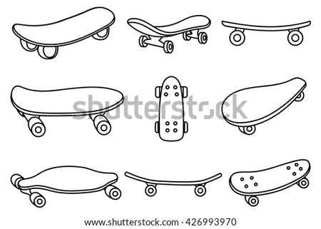 Set of black and white skateboards. For labels, logos, icons. Attributes of skateboarding. Skate set with caps. Skate set for print and sticker. Skateboard style. Vector.