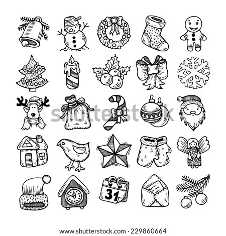 Set of black and white sketch drawing christmas doodle icons - stock vector