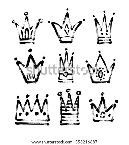set of 9 black and white sketch drawing princess and the king crown with paint grungy texture, vector illustration icons collection