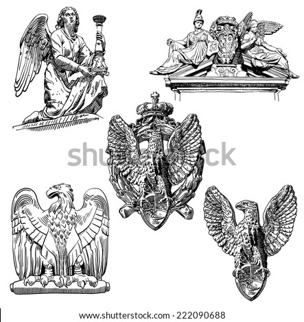 set of black and white sketch drawing winged element angel and eagle from Rome, Italy, vector illustration - stock vector