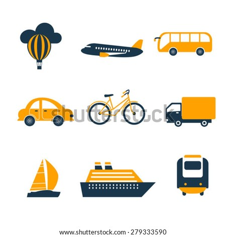 set of black and yellow transport icons - stock vector