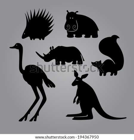 Set of black animal templates for your design - stock vector