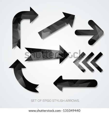 Set of black arrows with geometric pattern. Vector illustration. - stock vector