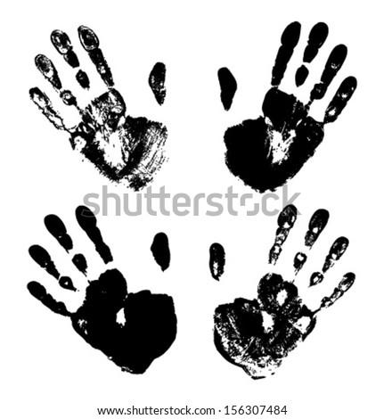 Set of  Black Art Hand Prints, vector grunge illustration  - stock vector
