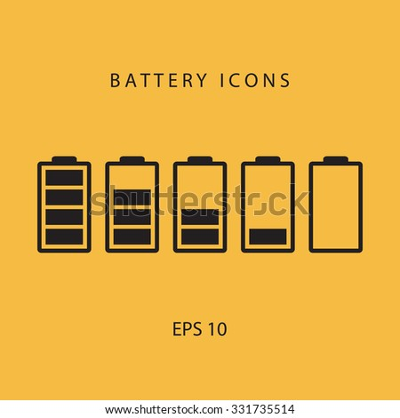 Set of black battery icons. - stock vector