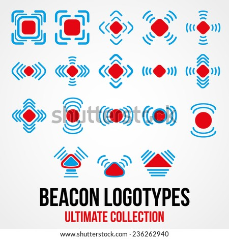 Set of black beacon icons. Positioning system of marketing. Vector Illustration. - stock vector
