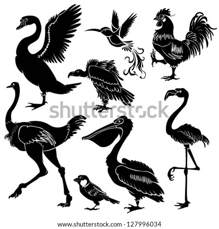 Set of black birds silhouette - stock vector