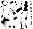 Set of black blots and ink splashes. Abstract elements for design in grunge style.  - stock photo
