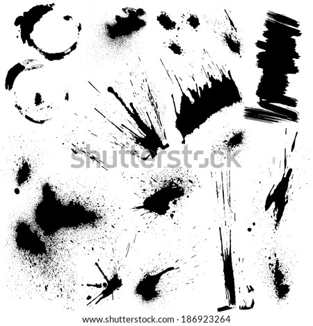 Set of black blots and ink splashes. Abstract elements for design in grunge style.  - stock vector