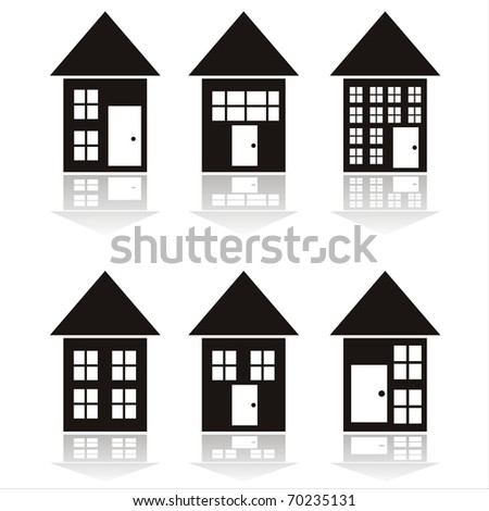 set of 6 black buildings icons