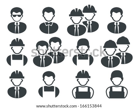 set of black buildings men icons - stock vector