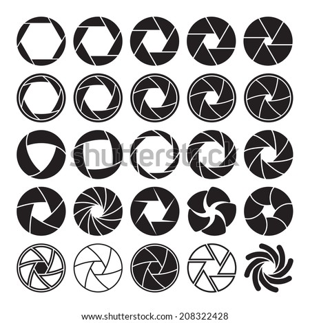 Set of black camera shutter icons on white background. Vector illustration - stock vector